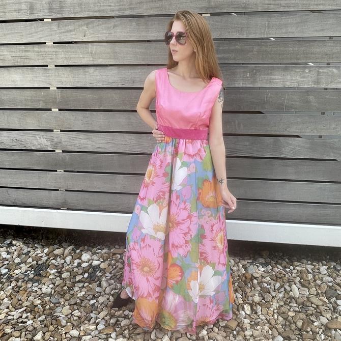 1970s Pink Sunflower Maxi Dress