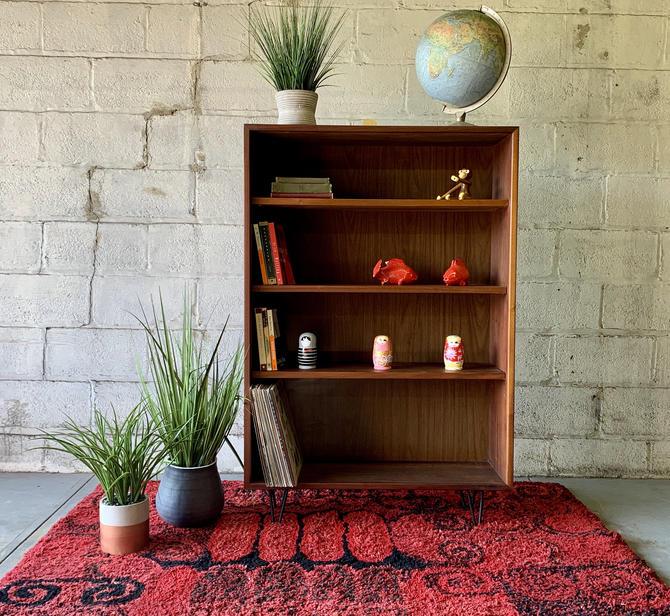 Mid Century Modern WALNUT DANISH BOOKCASE bookshelves hairpin legs by CIRCA60