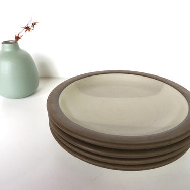 "Set Of 2 Vintage Heath Ceramics 7 3/8"" Birch Salad Plates, Edith Heath Two-Tone Contemporary Plates, Heath Ceramics Rim Line Side Plates by HerVintageCrush"