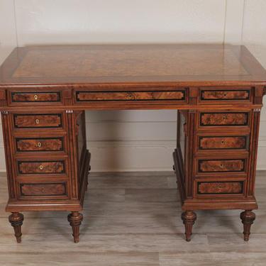 Burled Walnut East Lake Style Renaissance Revival Desk