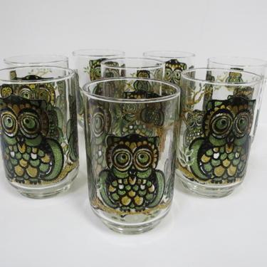 Vintage Mid century modern set of 8 Owl glasses