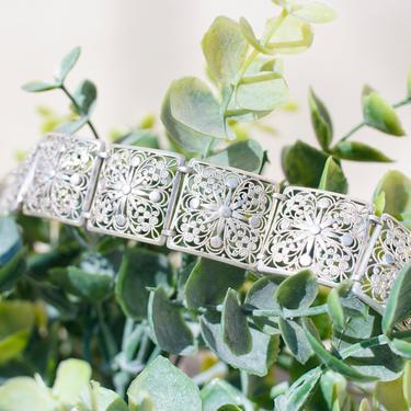 "Vintage 800 Silver Filigree Square Panel Bracelet, Beautiful Antique Silver Link Bracelet With Intricate Floral Designs, 7 1/4"" Long by shopGoodsVintage"