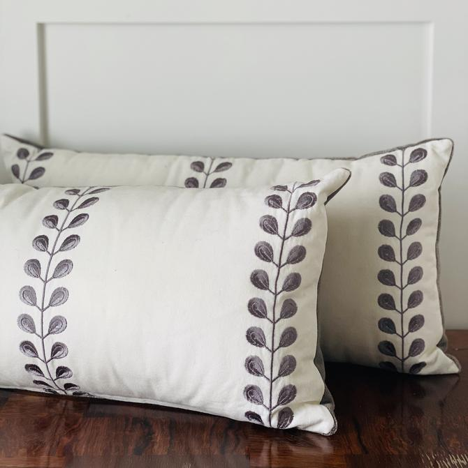 Pillow, Gray Embroidered with Velvet Back