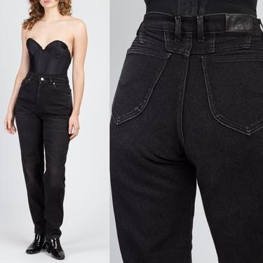 "Vintage High Waisted Black Lee Riders Jeans - Medium, 28"" | 80s 90s Grunge Denim Tapered Mom Pants by FlyingAppleVintage"
