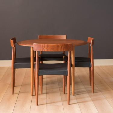 Vintage Danish Teak and Oak Round Dining Table by MidcenturyMaddist