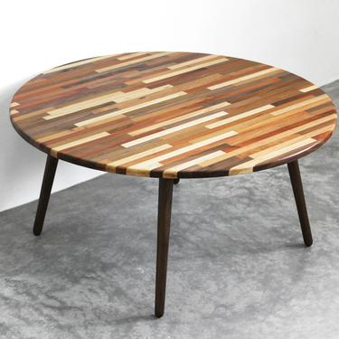 """Large 34"""" Round Mixed Wood Coffee Table - Classic Mid Century Modern Eames Style Design Boho Wood Furniture by portrhombus"""