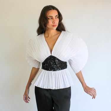 Vintage 50s 60s Tally Boutique New York White Accordion Shoulder and Black Sequin Peplum Top   1950s 1960s Designer Avant Garde Blouse by TheVault1969