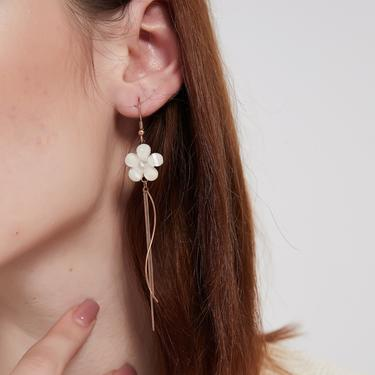 callie rose gold flower long drop tassel earring, flower dangle earring, flower long drop earring, rose flower earring, floral earring by MelangeBlancDesigns