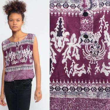 7bd8afd2e2 Batik Top Hippie Ethnic Shirt 90s Sleeveless Blouse Floral Dashiki 1990s  Hippie Bohemian Indian Cotton Purple