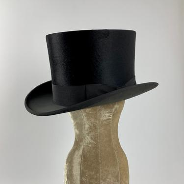 1920's-30's TOP HAT - Felted Beaver Fur - Silk Lining - Leather Sweatband - Never Worn - Size 7-1/8 by GabrielasVintage