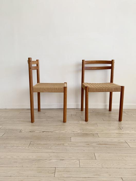 Pair of Mid Century Teak Danish Cord Dining Chairs