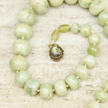 """Vintage Faceted Green Stone Bead Necklace With Labradorite Clasp, Chunky Green Bead Necklace, Iridescent Gemstone, Unique Jewelry, 24 1/2"""" L by shopGoodsVintage"""