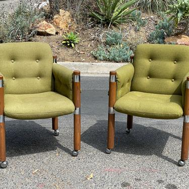 Mid-Century Oak and Chrome Chairs in Olive -- 1960s by HollywoodHillsModern