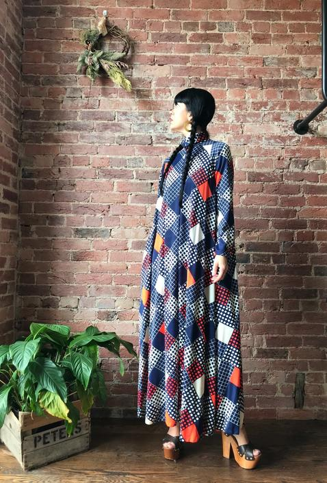 vintage 60s mod maxi dress | FRANLIN SIMON polka dots and squares print collared zip front tent dress by LosGitanosVintage