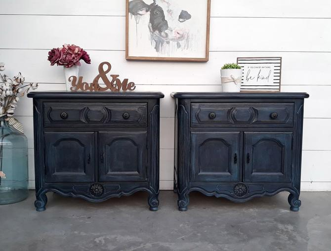 Dark Blue Layered \/ Drybrushed Nightstand \/ End Table Set
