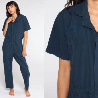 Blue Boiler Suit Short sleeve Coveralls Jumpsuit Pants Workwear Uniform 80s Boilersuit Work Wear Vintage 1980s Medium by ShopExile