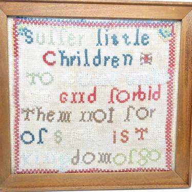 Antique 1800's MARY MORRIS Religious Sampler, Bible Verse Matthew 19:14, Framed Linen ABC Scripture Needlework, Suffer Little Children by exploremag