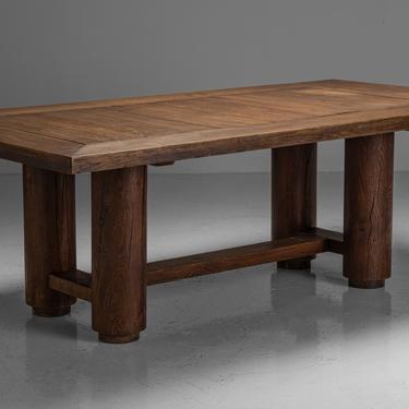Oak Brutalist Dining Table / Desk