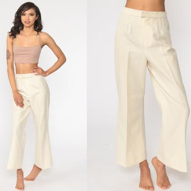 Bell Bottoms Pants 70s Cream Trousers Boho Hippie Bellbottom High Waisted 1970s Vintage Bohemian Trousers High Rise Small 27 by ShopExile