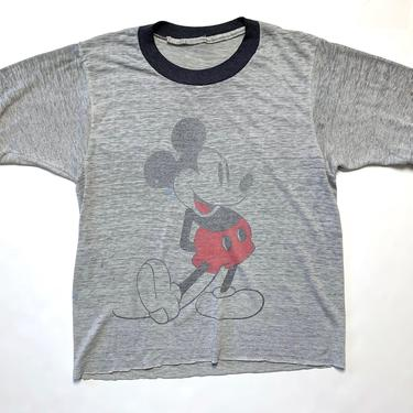 Vintage 1970s/1980s MICKEY MOUSE Ringer T-Shirt ~ fits XS ~ Cutoff Disney Tee ~ Tissue Soft / Thin / Worn-In ~ Single Stitch by SparrowsAndWolves