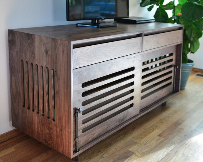 Dog crate media center, Double dog crate, Wooden Dog crate, Dog crate TV stand, Dog crate console, Non-toxic finishes by ThisIsUrbanMade
