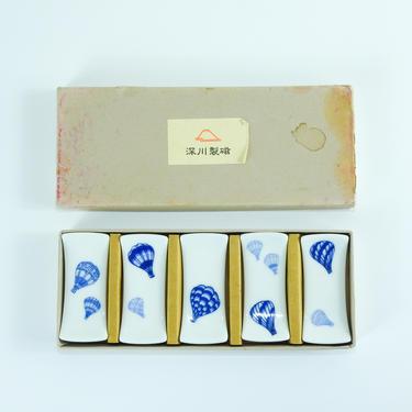 Vintage Japanese Ceramic Chopstick Rest Set  / 1970's Hot Air Balloon Chopstick Holders by blackwellhabitat
