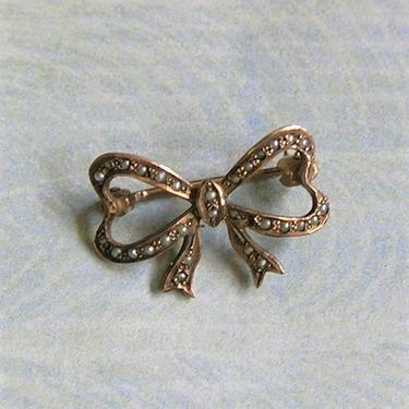 Antique 10K Gold And Seed Pearl Bow Brooch Pin, Old Seed Pearl Bow Pin Brooch, Wedding Jewelry (#3831) by keepsakejewels