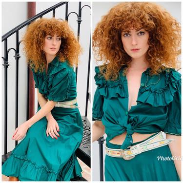 70s Western 2 piece SET skirt ruffle blouse ranchwear  S M by Sweetiesvintage