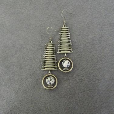 Jasper earrings, unique brass mid century modern earrings, industrial earrings, bohemian artisan earring, ornate chic contemporary earrings2 by Afrocasian