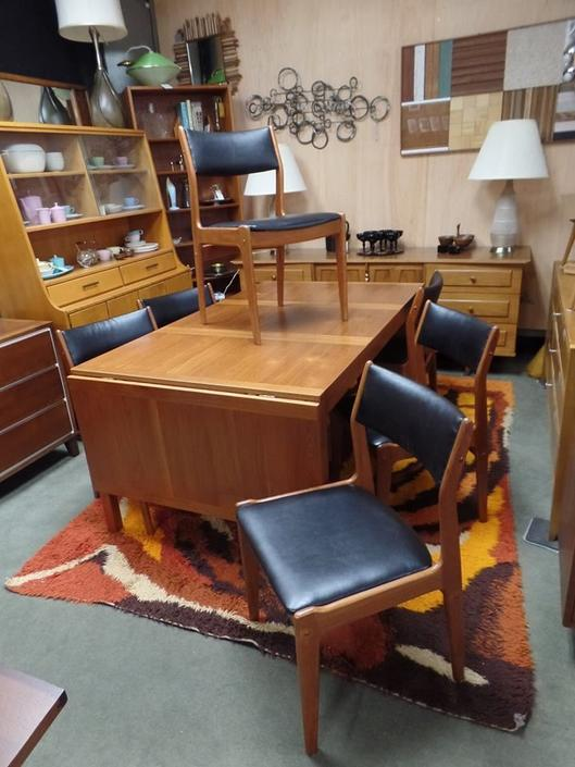 Set of six Danish Modern teak dining chairs with new upholstery