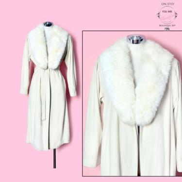 Vintage Coat White Fur Collar, Overcoat 1960's, 1970's Removable Fox Fur Collar Wrap Jacket, Ivory Suede Velvet by Boutique369
