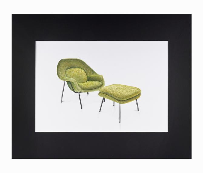 Watercolor Painting  Eero Saarinen Womb Chair Interior Design Mid Century Modern by VintageInquisitor