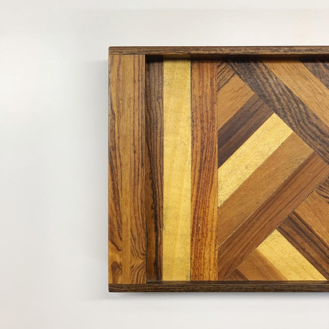Don Shoemaker Geometric Mixed Woods Tray by Senal by midcenTree
