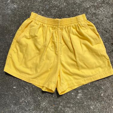 90's 100% cotton high waisted sports shorts~ elastic drawstring waist with pockets~ gym shorts activewear~  size small washed out-yellow by HattiesVintagePDX