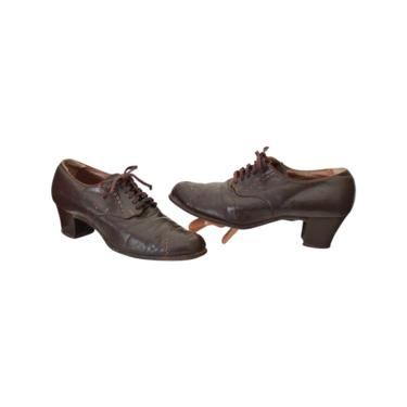 1940s Brown Oxford shoes - 1940s Womens Shoes - 40s Women's Brown Shoes - 1930s Oxfords - 1930s Brown Shoes - 40s Brown Shoes | US Size 7.5 by VeraciousVintageCo