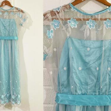 Vintage Baby Blue Prom Dress Pastel Sheer Embroidered Chiffon Overlay Lace Trim 1960s 50s Babydoll Twiggy Short Sleeve Shift Modern Size XXS by CheckEngineVintage