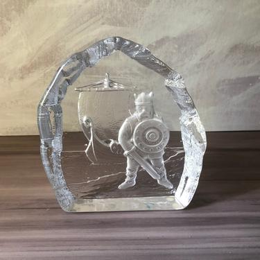Vintage Nybro Sweden Art Glass Crystal Viking Ship Paperweight with Original Tags by PKFlamingoVintage