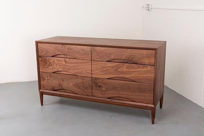 Walnut Low Dresser // Mid Century Modern Dresser // 6 Drawer Dresser by kyledauria
