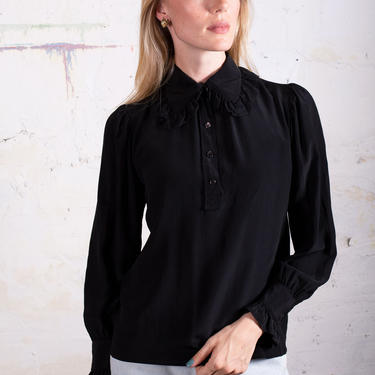 Yves Saint Laurent 1980s Ruffled Peter Pan Collar Silk Blouse sz 34 XS S Button Up YSL Peasant Sleeve Minimal Black Rive Gauche by backroomclothing