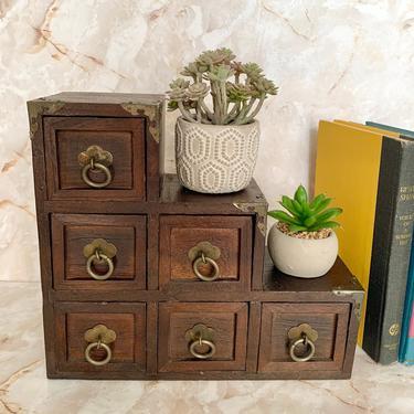 Wood Jewelry Box, Mantel Decor, Bookshelf Decor, Dark Wood Drawer Unit, Trinket Box, Vintage Storage Organization, Home Decor by GabAboutVintage