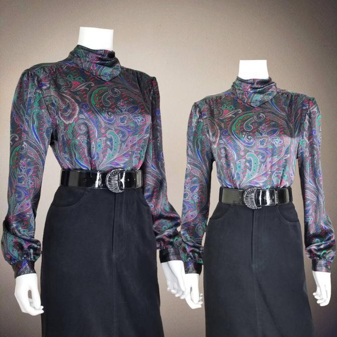Vintage Multicolor Paisley Blouse, Medium / Silky Back Button Blouse / Womens Satin Cocktail Blouse / Retro Office Secretary Blouse by SoughtClothier