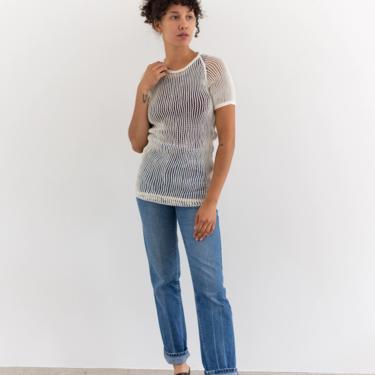 Vintage White Cotton Crochet Net Shirt   Fishnet Open Weave   Made in Norway   XS S   by RAWSONSTUDIO