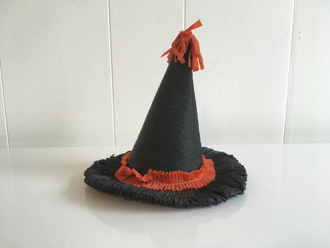 a3e5a014b30 Vintage Halloween Crepe Paper Hat Witch Decoration Party Favor Toy Costume  1940s by CheckEngineVintage