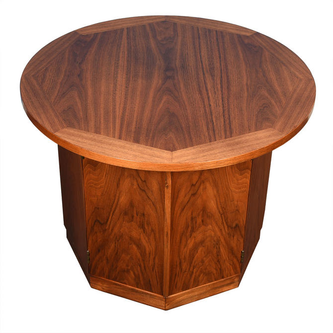 Mid-Century Walnut Round Tall Accent Table / Storage Cabinet