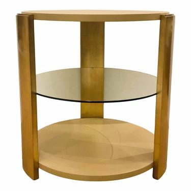 Theodore Alexander Modern Gold Leaf Finished Reflection Side Table