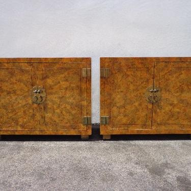 2 Vintage Cabinets Bachelor Chests Henredon Tortie Nightstands Storage Burl Style Chinoiserie Chippendale Brass Bohemian Console Tables by DejaVuDecors