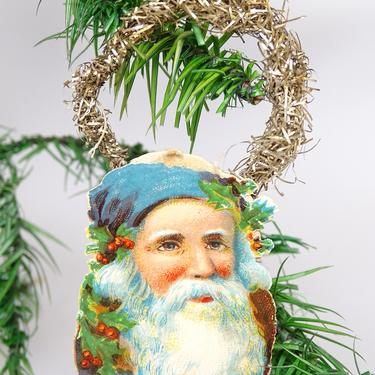 Early 1900's Santa Christmas Tree Ornament, Vintage Santa Claus Face Scrap with Tinsel, Antique Decor by exploremag