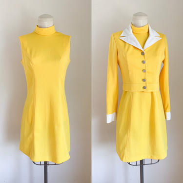Vintage 1960s Yellow & White 2pc Dress set / S/M by MsTips