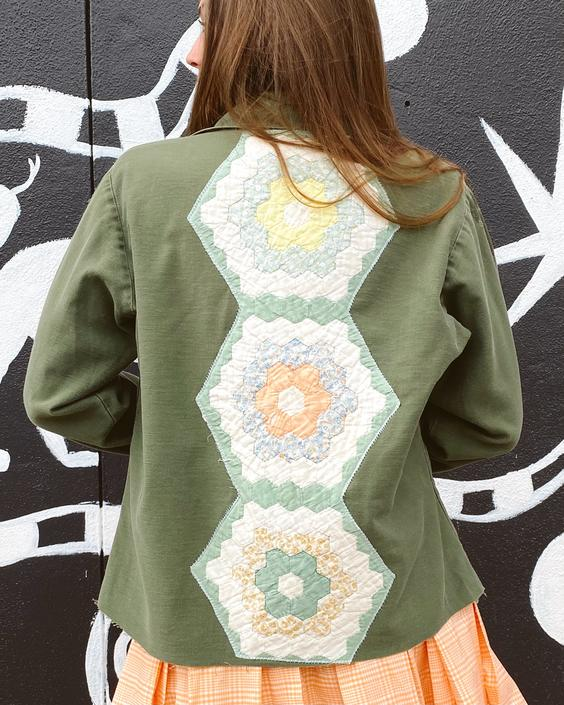 FO23 Quilt Patched Military Fatigue Jacket