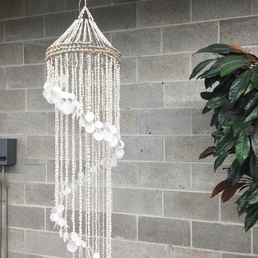 Vintage Hanging Seashell Mobile Retro 1980s Natural Shells + Large Spiral Windchime + 56 Inches Long + Nautical + Beach and Shore Decor by RetrospectVintage215